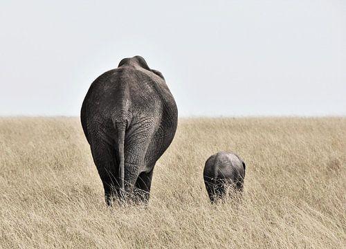Olifant met kleintje  van Esther van der Linden