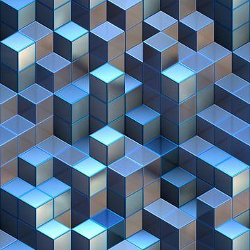 Tours de cubes bleus abstraits sur Arjen Roos