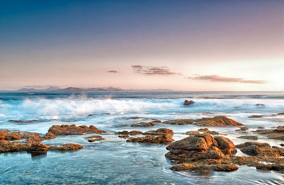 Rocks on the coast of Punta Pechiguera, Lanzarote island, Spain.