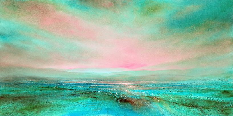 Het licht: roze en turkoois van Annette Schmucker