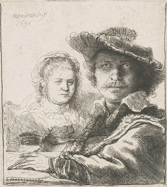 Selbstbildnis mit Saskia, Rembrandt vam Rijn von Het Archief