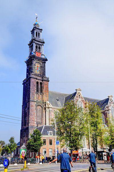 Westerkerk Amsterdam met fietser van Hendrik-Jan Kornelis