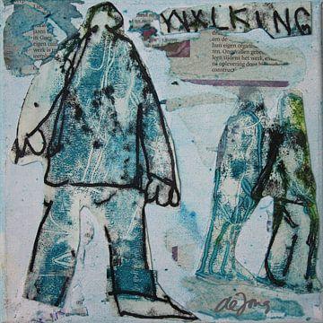Walking, mensen aan het wandelen, hand lopen von Leo de Jong