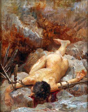 Vlaho Bukovac, Ikarus auf den Felsen, 1897 von Atelier Liesjes