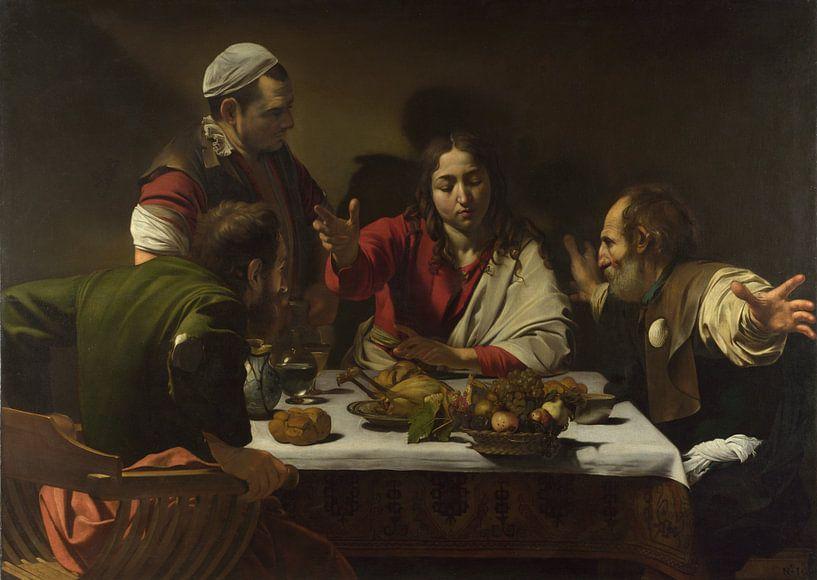 Das Abendmahl in Emmaus, Michelangelo Merisi da Caravaggio von Meesterlijcke Meesters