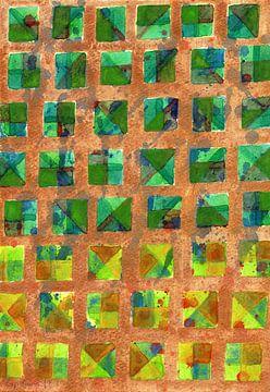 Green Squares on Golden Background Pattern  van Heidi Capitaine