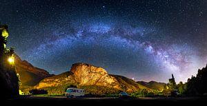 Melkweg boven Ordesa Nationaal Park, Spanje van Riekus Reinders