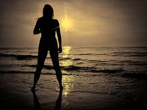 Zonsondergang aan het strand.