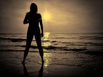 Zonsondergang aan het strand. van Don Fonzarelli