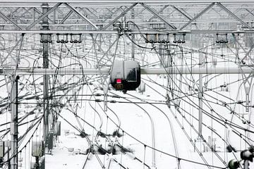 Station Arnhem na een sneeuwbui