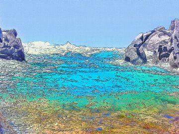 Uitzicht op Wilder Zee van Strand Capo Testa Sardinië - Geschilderde Tekening