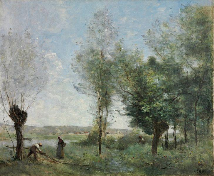 Souvenir von Coubron, Jean-Baptiste-Camille Corot von Meesterlijcke Meesters
