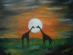 Giraffe Silhouette under the Full Moon