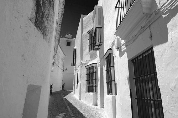 Witte huizen, Spanje (zwart-wit)