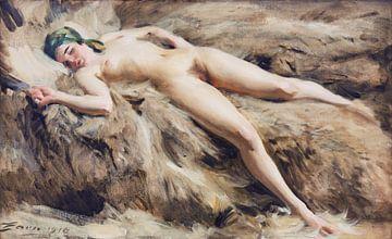 vrouwelijk naakt, På vargen, Anders Zorn - 1918 van Atelier Liesjes