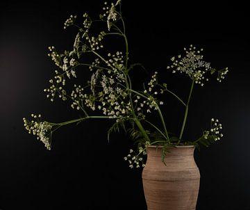 Stilleven Fluitenkruid  in aardewerken vaas van Gaby Hendriksz