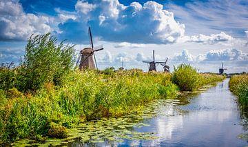 Windmühlen entlang der Uferpromenade in Kinderdijk, Niederlande von Rietje Bulthuis