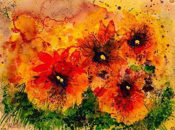 bloemen in geel en rood van Klaus Heidecker