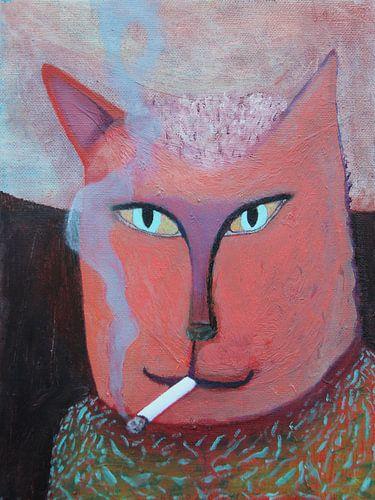 Rokend katje 18x24 cm van