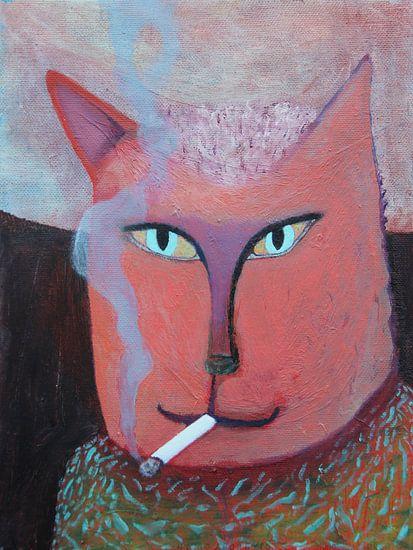 Rokend katje 18x24 cm