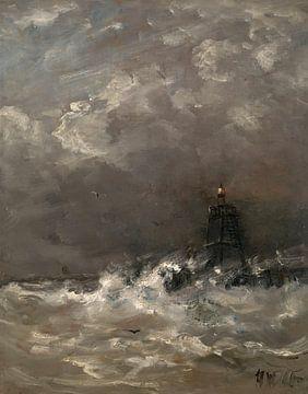Vuurtoren in de branding, Hendrik Willem Mesdag
