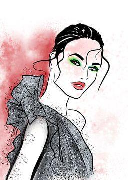 Illustration de mode à paillettes d'argent sur Janin F. Fashionillustrations