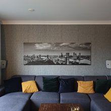 Klantfoto: Rotterdam Skyline Panorama vanaf Euromast 3:1 van Vincent Fennis, op canvas