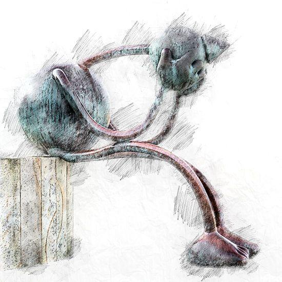 """Nieuwe versie van """"De Denker"""" (digitale tekening) van Art by Jeronimo"""