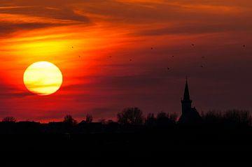 Sinkende Abendsonne über der Stadt Den Hoorn von Beschermingswerk voor aan uw muur