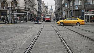 Taxi en Tram in Praag van
