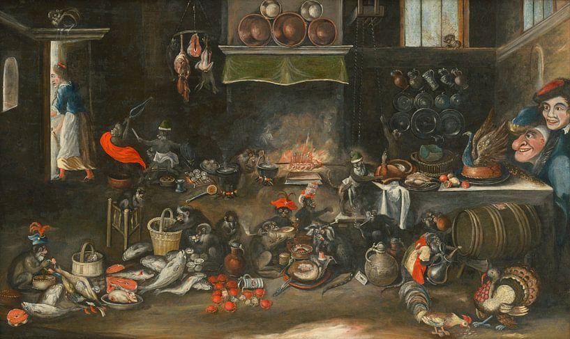 Affen in der Küche, Frans Francken (II) von Meesterlijcke Meesters