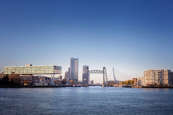 stadsgezicht van Rotterdam met links De Hef en rechts de Erasmusbrug