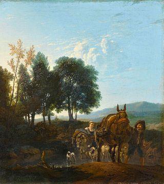 Landschap met muilezeldrijver, Karel du Jardin