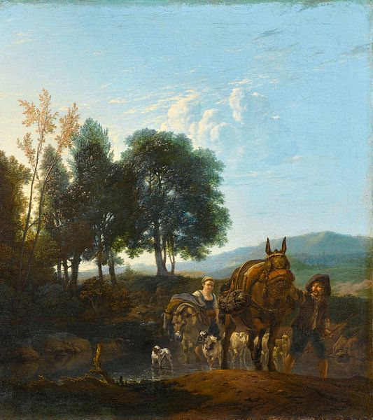 Landschaft mit Maultiertreiber, Karel du Jardin von Meesterlijcke Meesters