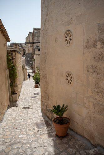 Straatje  met bloemenvensters | Matera, Italie |  Reisfotografie fine art print
