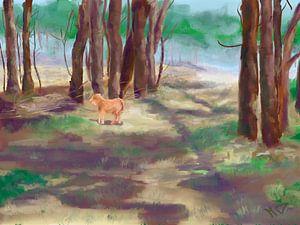 Hooglander in het bos van Marijke Doppenberg