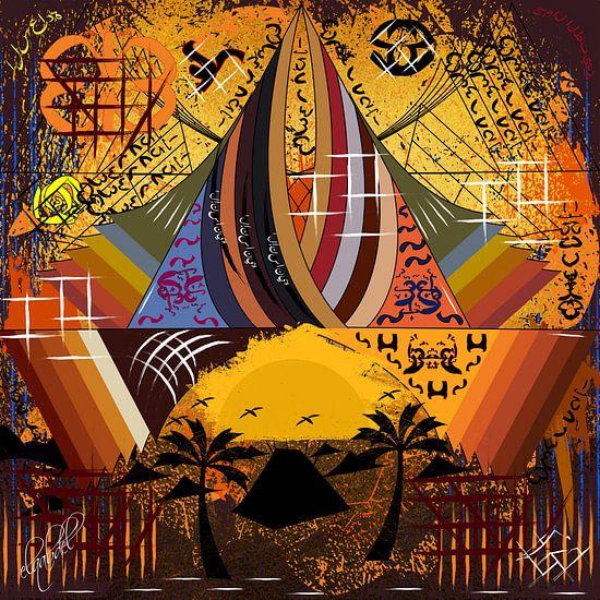 Hedendaags en abstract origineel werk van geometrische vormen