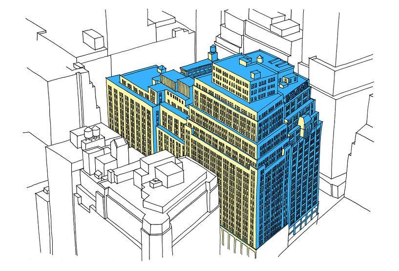 NY City Block Federzeichnung von Maarten Schets