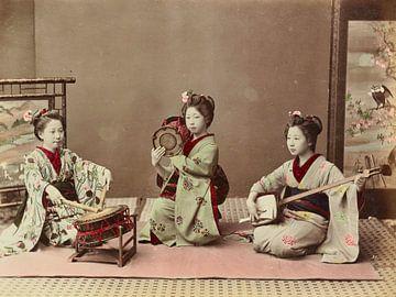 Vintage-Foto, Musizieren, Kusakabe Kimbei, 1870er - 1890er Jahre
