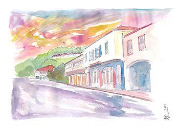Gustavia St Barts straatbeeld bij zonsondergang van Markus Bleichner