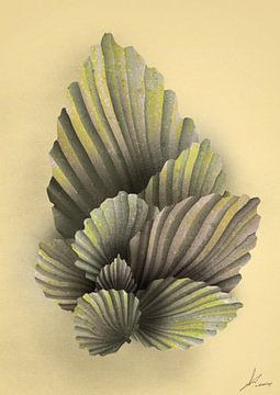 Palm bladeren op zand gele achtergrond van Emiel de Lange