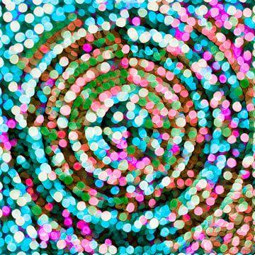 Veelkleurige cirkel, pointillisme van Rietje Bulthuis