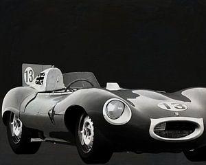 Jaguar Type D 1956 Voorkant b&w
