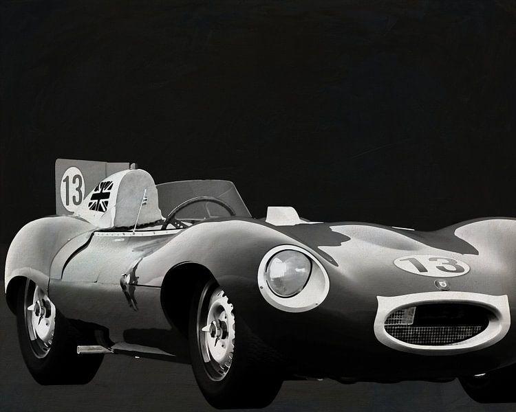 Jaguar Type D 1956 Voorkant b&w van Jan Keteleer