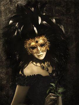 Die maskierte Frau in Schwarz von Babette van den Berg