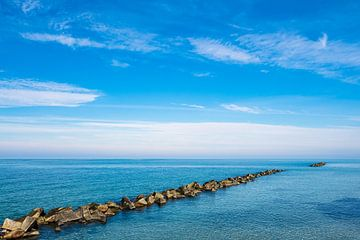 Baltic Sea coast with blue sky in Wustrow, Germany van