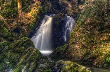 Waterval in het bos van Duitsland van Cor Brugman