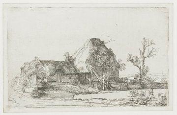 Bauernhof und Stallungen mit einem Zeichner, Rembrandt van Rijn