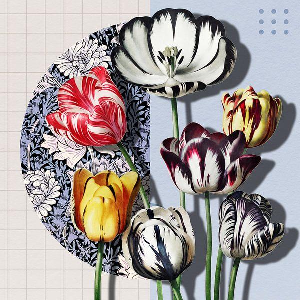 Collage 3D avec des tulipes sur Marja van den Hurk