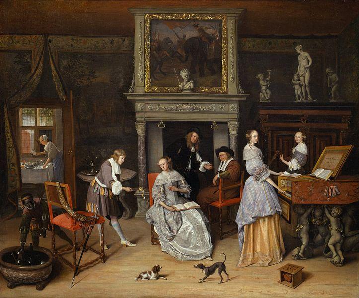 Jan Steen. Fantasie interieur van 1000 Schilderijen